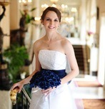 Navy Blue Silk Rose Hand Tie (3 Dozen Roses) - Bridal Wedding Bouquet
