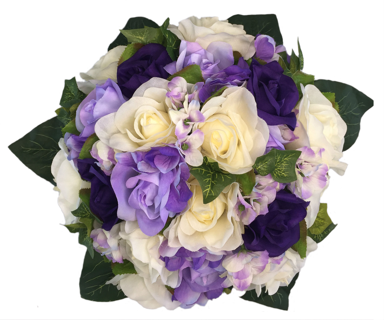 Purple Lavender And Ivory Hydrangea Wedding Bouquet Artificial